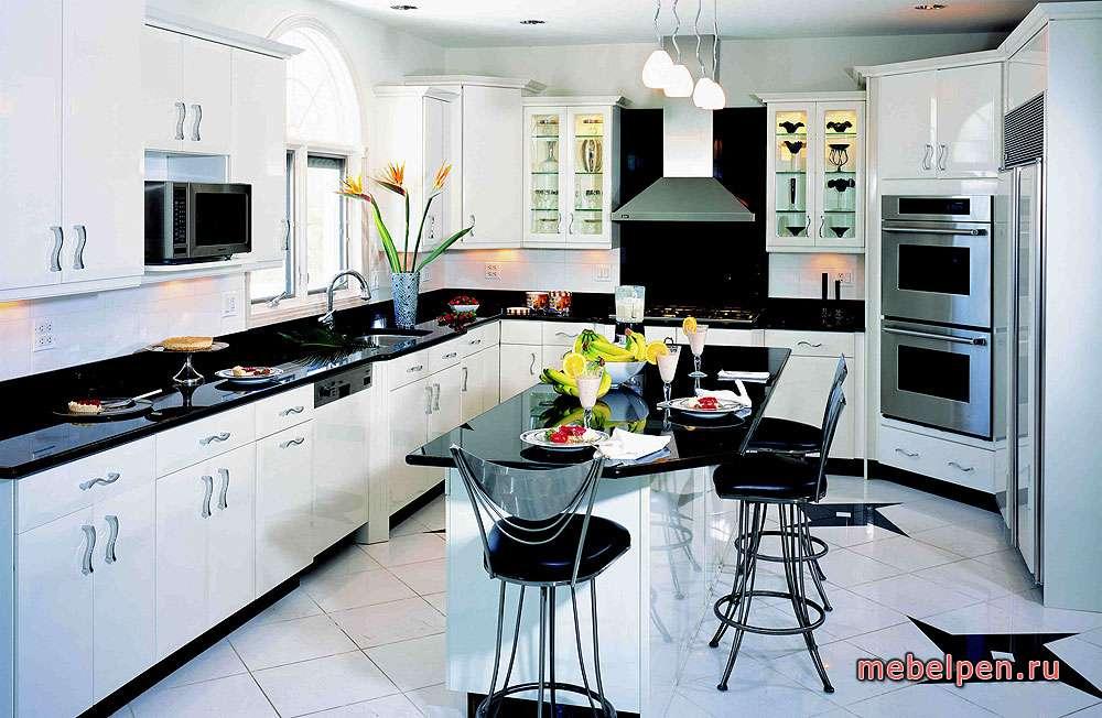 Кухня в черно белой расцветке